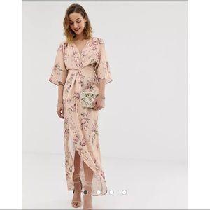 Hope & Ivy Knot front kimono floral dress ASOS